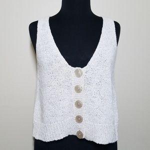 J. Jill Vest Linen Blend Button V-neck Stretch Sm